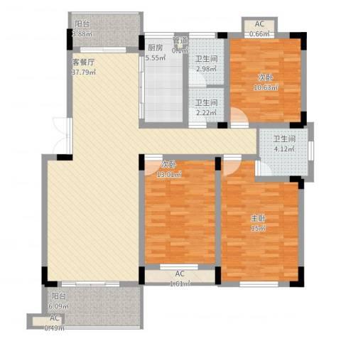 文昌北苑3室2厅3卫1厨151.00㎡户型图