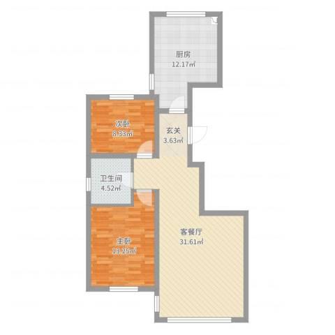 天房意境2室2厅1卫1厨87.00㎡户型图