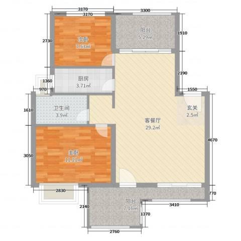 淮北凤凰城2室2厅1卫1厨85.00㎡户型图