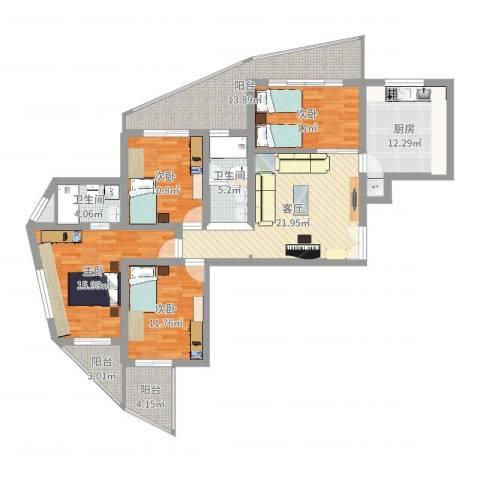 振业山水名城4室1厅2卫1厨114.60㎡户型图