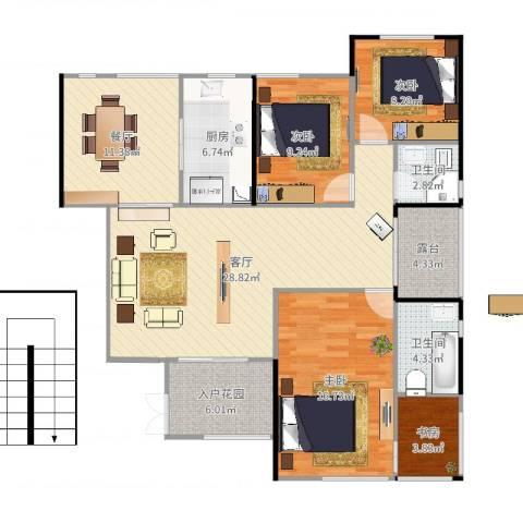 南方书苑湖畔4室2厅2卫1厨128.00㎡户型图