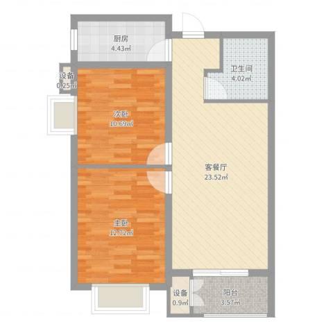 水岸丽景2室2厅1卫1厨75.00㎡户型图
