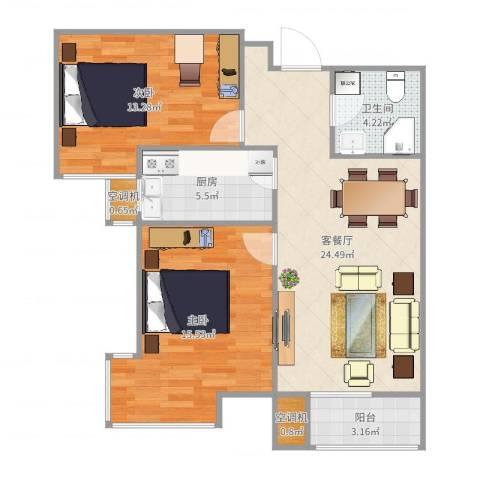 建投观海2室2厅1卫1厨85.00㎡户型图