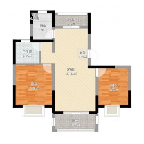 绿地泊林公馆2室2厅1卫1厨82.00㎡户型图