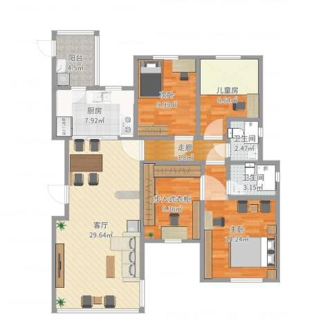 远大都市风景三期3室1厅2卫1厨133.00㎡户型图