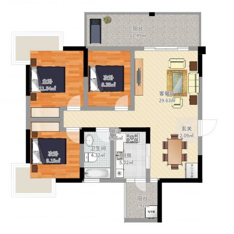 瑞阳领域3室2厅1卫1厨122.00㎡户型图