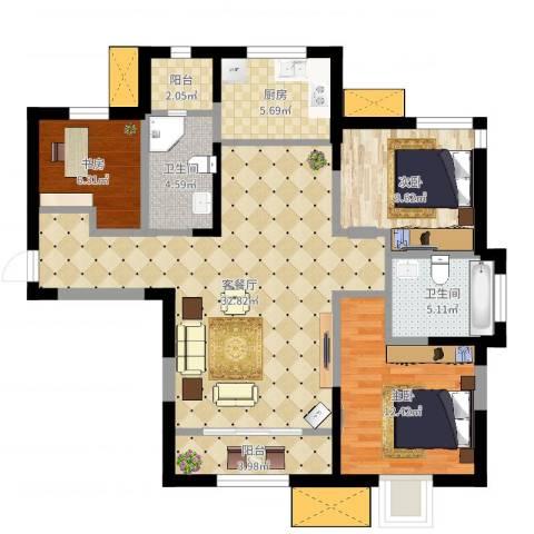 新梅江锦绣里3室2厅2卫1厨103.00㎡户型图