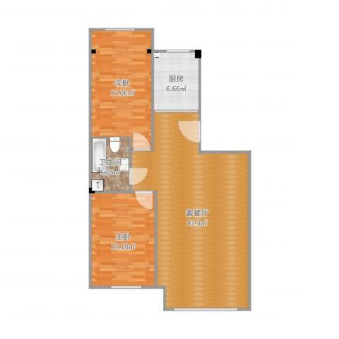 马德里皇家花园2室2厅1卫1厨109.00㎡户型图