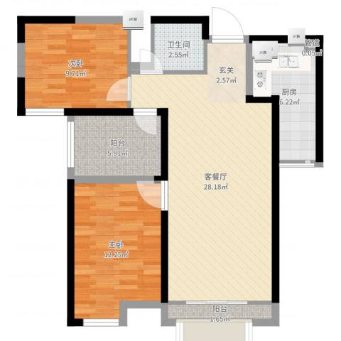 旺城温莎郡2室2厅2卫1厨83.00㎡户型图