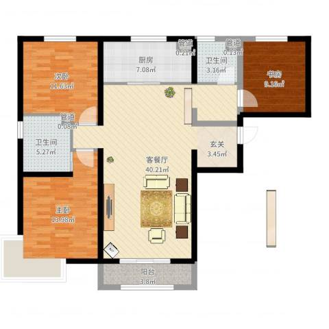 金域蓝湾二期3室2厅2卫1厨118.00㎡户型图