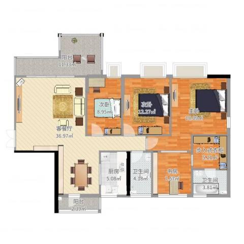 光耀荷兰堡4室2厅2卫1厨145.00㎡户型图