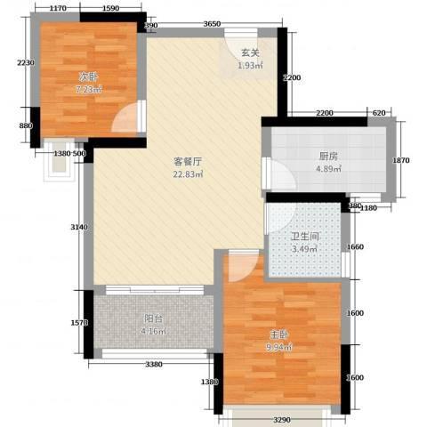 西湖怡景园二期2室2厅1卫1厨70.00㎡户型图