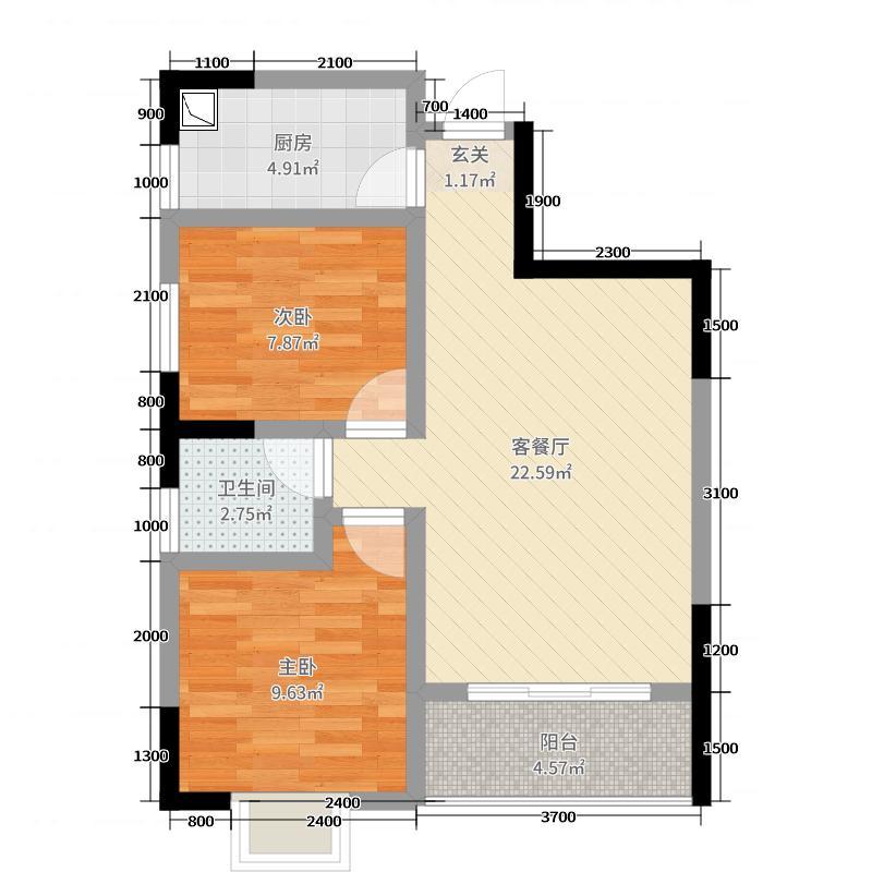 卧龙城72.99㎡A户型2室2厅1卫