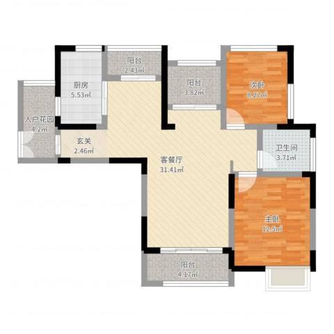 景徽国际2室2厅1卫1厨95.00㎡户型图