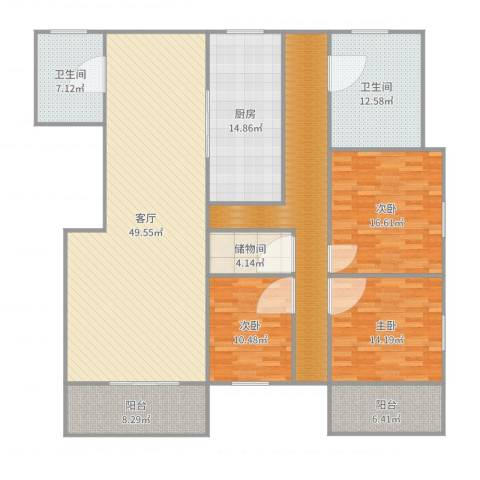 同心路116弄小区3室1厅2卫1厨203.00㎡户型图
