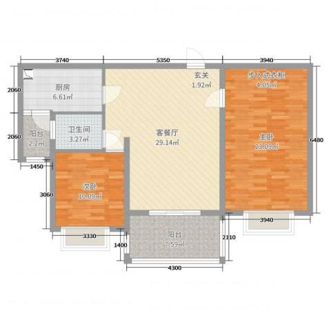 集云文泽府邸2室2厅1卫1厨103.00㎡户型图