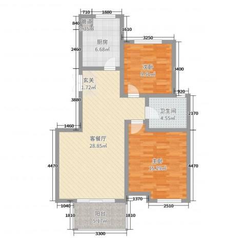 温哥华城・金水河畔2室2厅1卫1厨88.00㎡户型图