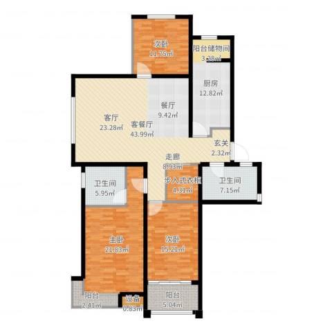 东方明珠广场3室2厅2卫1厨164.00㎡户型图