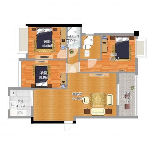 世纪星城4-2佘姐3室2厅1卫1厨105.00㎡户型图