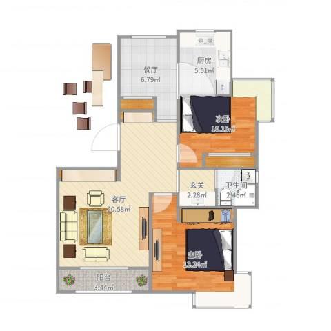 天房郦堂两室两厅一厨一卫两阳台2室2厅1卫1厨86.00㎡户型图