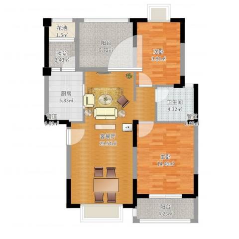 万达西双版纳国际度假区2室2厅1卫1厨101.00㎡户型图