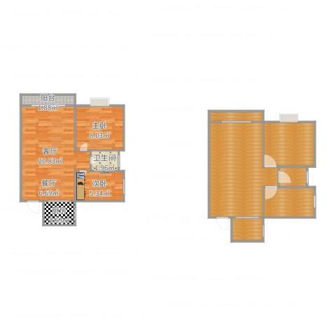 新都华城2室1厅1卫1厨103.00㎡户型图