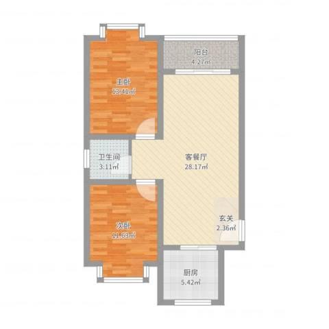 丽苑商住2室2厅1卫1厨82.00㎡户型图