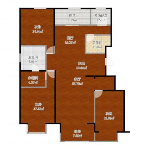 晋中万科朗润园三期3室1厅2卫1厨164.00㎡户型图