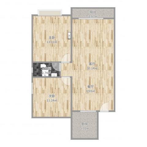 新都华城2室1厅1卫1厨81.00㎡户型图