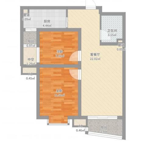 九派香邻2室2厅1卫1厨81.00㎡户型图