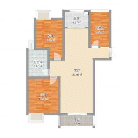 望景华庭3室1厅1卫1厨116.00㎡户型图