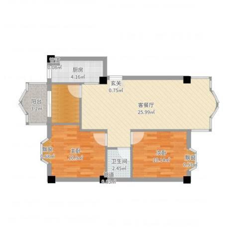 温馨佳苑2室2厅1卫1厨76.00㎡户型图