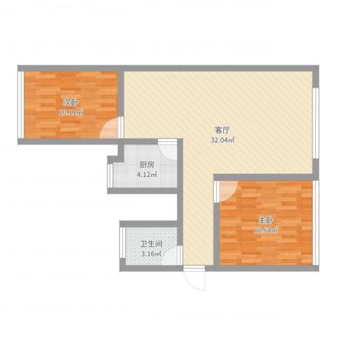 南河花园2室1厅1卫1厨78.00㎡户型图