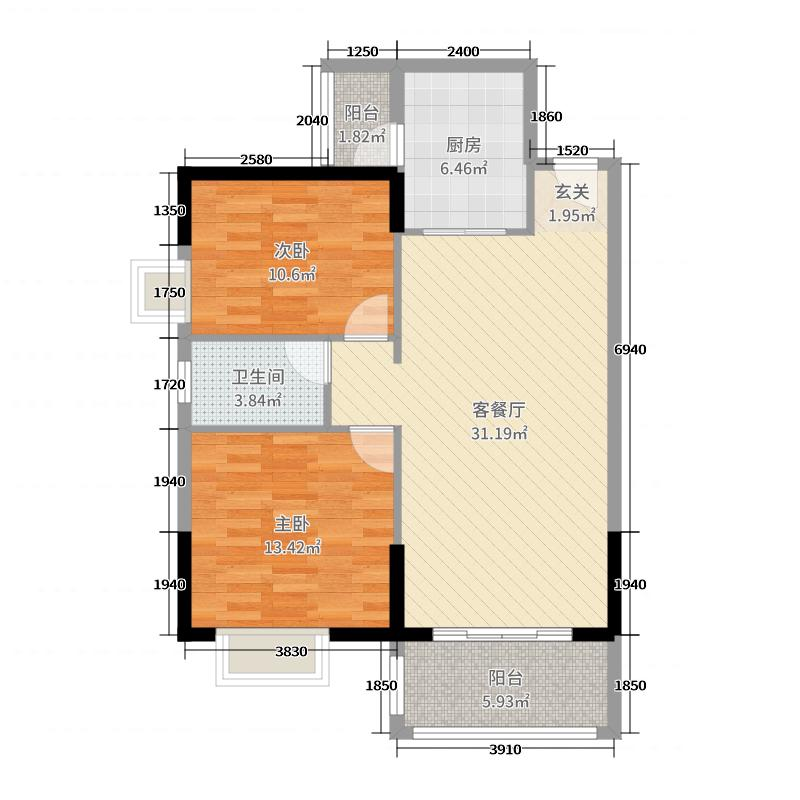 申蓝宝邸95.00㎡B501&02单元户型2室2厅1卫1厨