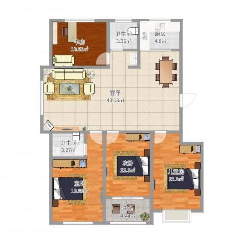 王侯嘉苑4室1厅2卫1厨141.00㎡户型图