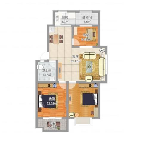 王侯嘉苑2室1厅1卫1厨97.00㎡户型图