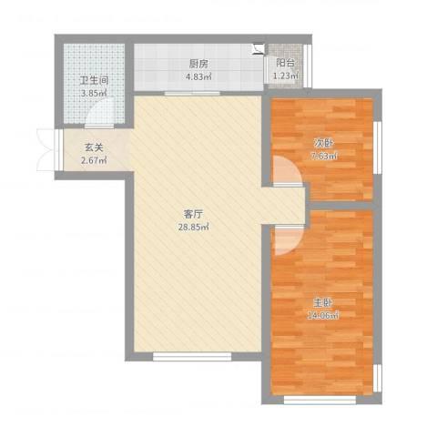K2·京南狮子城2室1厅1卫1厨76.00㎡户型图