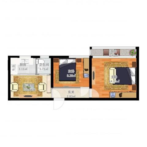 永乐西区2室1厅1卫1厨50.00㎡户型图