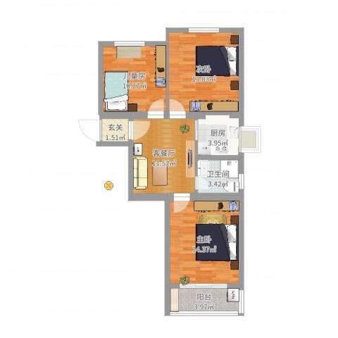 劲顺花园3室2厅1卫1厨79.00㎡户型图