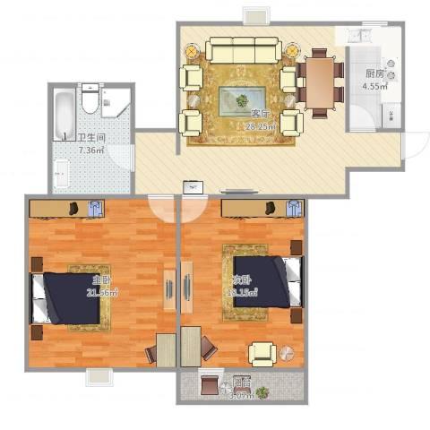 西文东苑2室1厅1卫1厨104.00㎡户型图