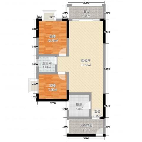 恒远帝都新城2室2厅1卫1厨86.00㎡户型图
