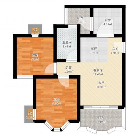 祈福新村康怡居2室2厅1卫1厨63.00㎡户型图