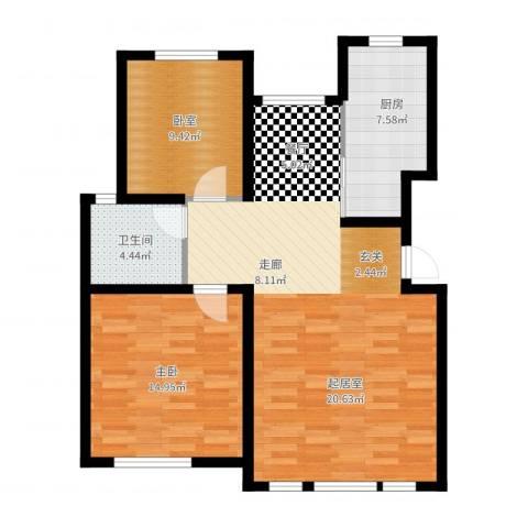 中信公园城1室2厅1卫1厨102.00㎡户型图