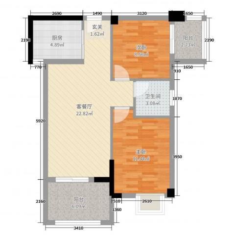 山水华庭2室2厅1卫1厨76.00㎡户型图