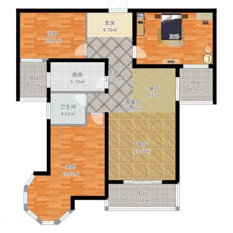 南阳桂花城御景3室2厅1卫1厨154.00㎡户型图
