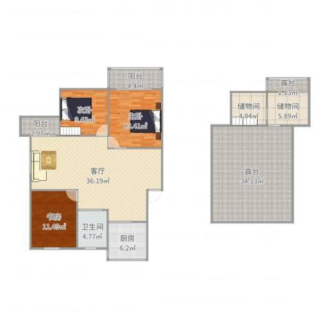 和平小区3室1厅1卫1厨170.00㎡户型图