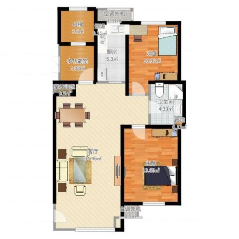 天房意境2室1厅1卫1厨98.00㎡户型图