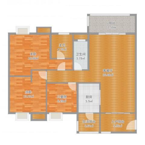 荔园悦享星醍-极客-现代简约3室2厅1卫1厨135.00㎡户型图