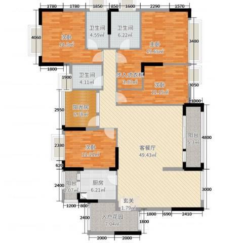 世纪城国际公馆香榭里4室2厅3卫1厨171.00㎡户型图