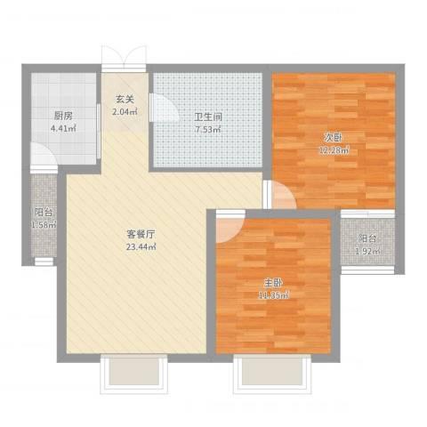 春天花园2室2厅1卫1厨78.00㎡户型图
